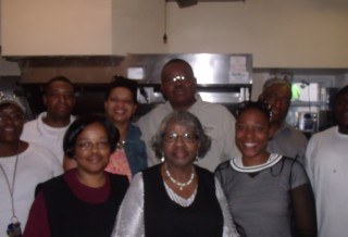 Kitchen volunteers for feeding the homeless